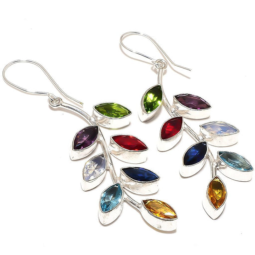 Leaf Art - Multi Gemstone Ethnic Jewelry Earring 2.8 Inches RE880