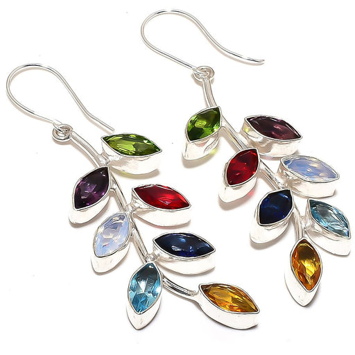 Leaf Art - Multi Gemstone Ethnic Jewelry Earring 2.8 Inches RE881