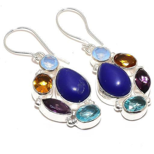 Lapis Lazuli, Multi Gem Gemstone Jewelry Earring 2.0 Inches RE882
