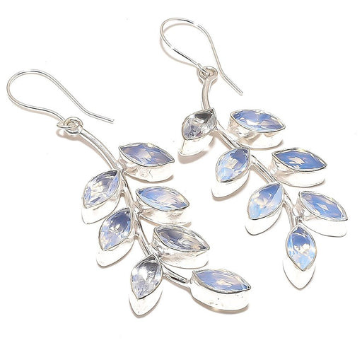 Leaf Art - Milky Opalite Gemstone Jewelry Earring 2.8 Inches RE883