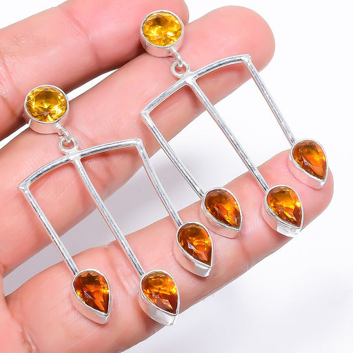 Aaa+++ Citrine Gemstone Handmade Jewelry Earring 2.1 Inches RE916