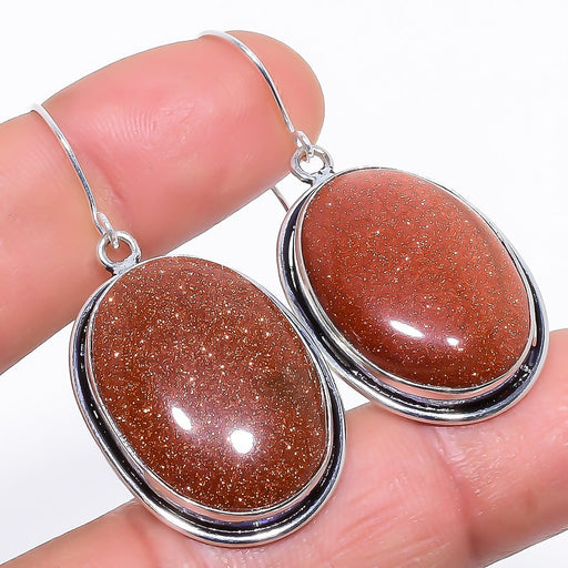 Golden Sunstone Gemstone Handmade Jewelry Earring 1.8 Inches RE972
