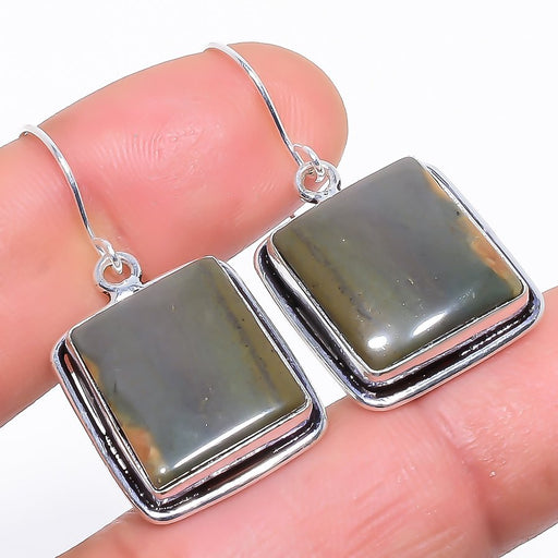 Gray Jasper Gemstone Handmade Jewelry Earring 1.5 Inches RE974