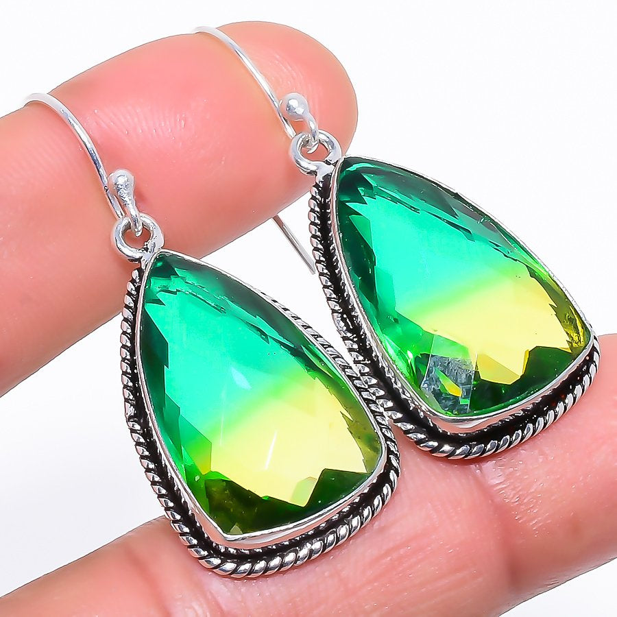 Bi-Color Tourmaline Gemstone Jewelry Earring 1.8 Inches RE989