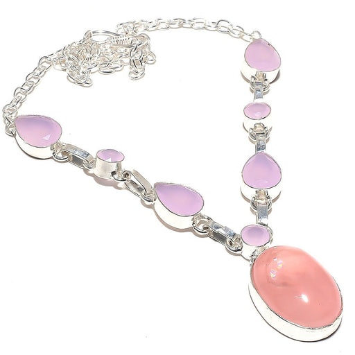 Rose Quartz, Pink Jade Gemstone Jewelry Necklace 18 Inches RN100