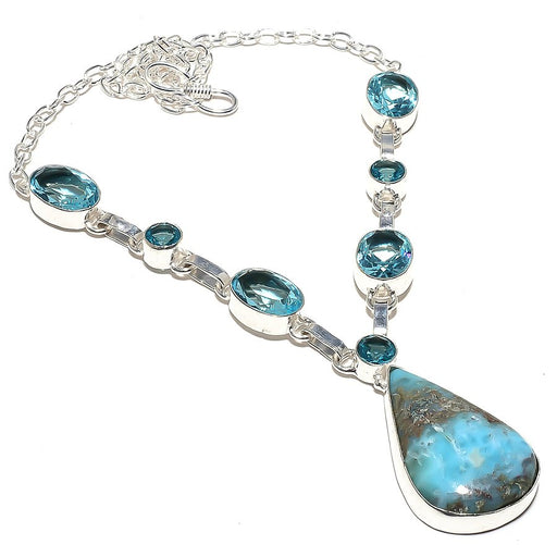 Caribbean Larimar, Blue Topaz Jewelry Necklace 18 Inches RN110