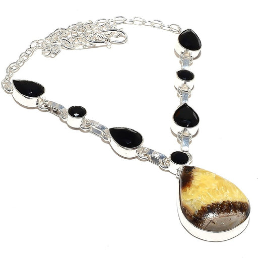 Septarian Stone, Black Onyx Jewelry Necklace 18 Inches RN114