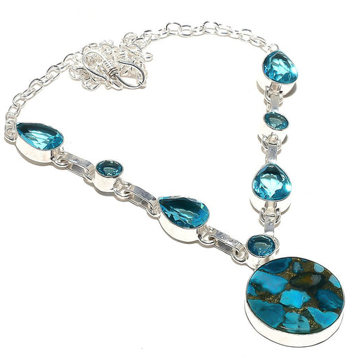 Copper Blue Turquoise, Blue Topaz Jewelry Necklace 18 Inches RN124