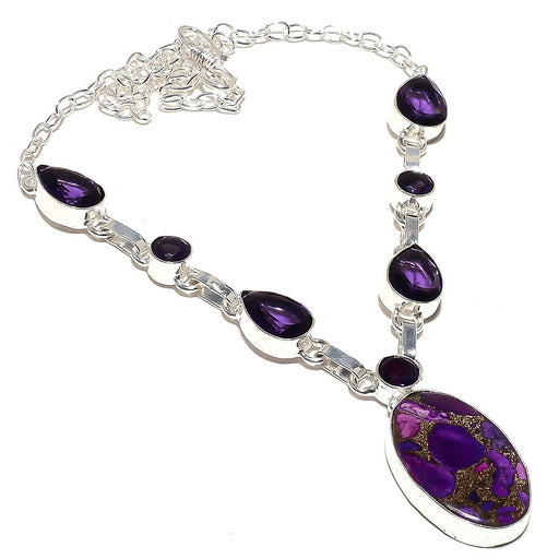 Copper Purple Turquoise, Amethyst Jewelry Necklace 18 Inches RN139
