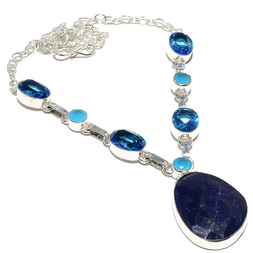 Lapis Lazuli, Blue Topaz Gemstone Jewelry Necklace 18 Inches RN146