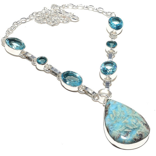 Caribbean Larimar, Blue Topaz Jewelry Necklace 18 Inches RN148
