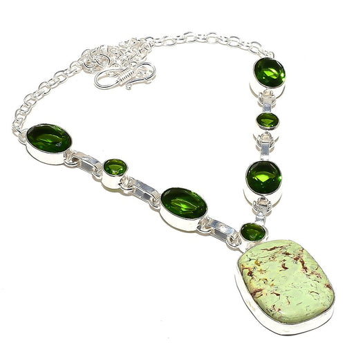 Lemon Chrysoprase, Peridot Ethnic Jewelry Necklace 18 Inches RN158
