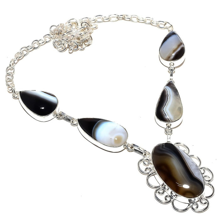 Botswana Lace Agate Gemstone Jewelry Necklace 18 Inches RN164