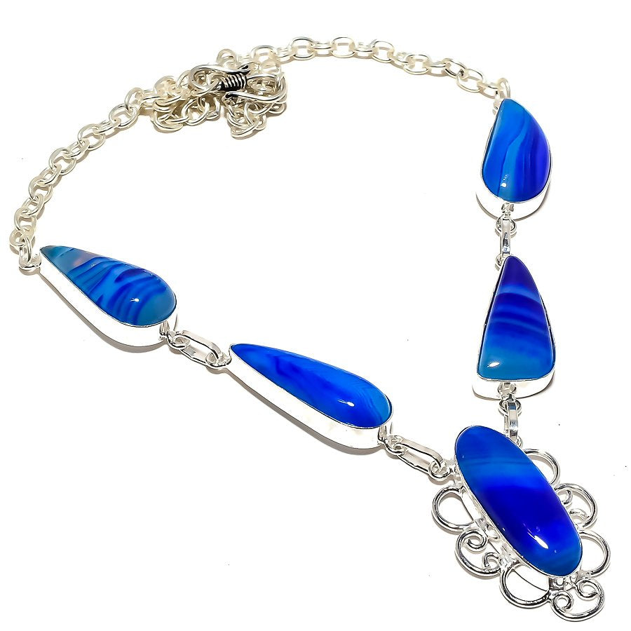 Blue Lace Agate Gemstone Handmade Jewelry Necklace 18 Inches RN169