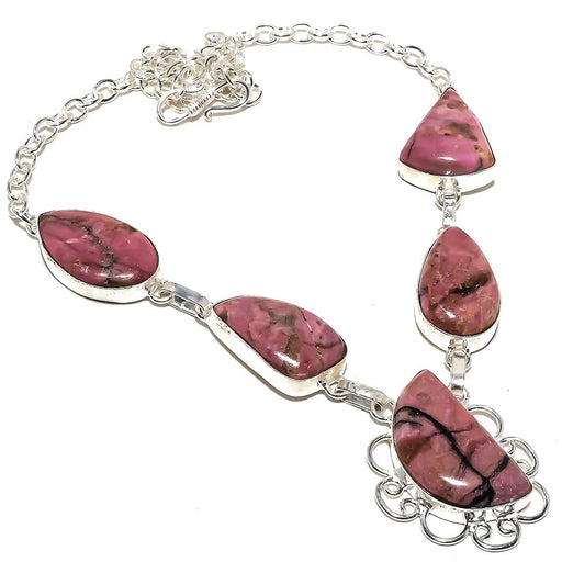 Rhodonite Gemstone Handmade Jewelry Necklace 18 Inches RN172