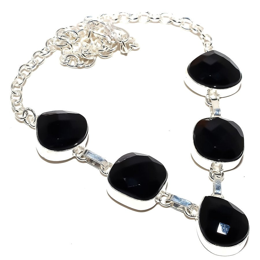 Black Onyx Gemstone Handmade Jewelry Necklace 18 Inches RN180