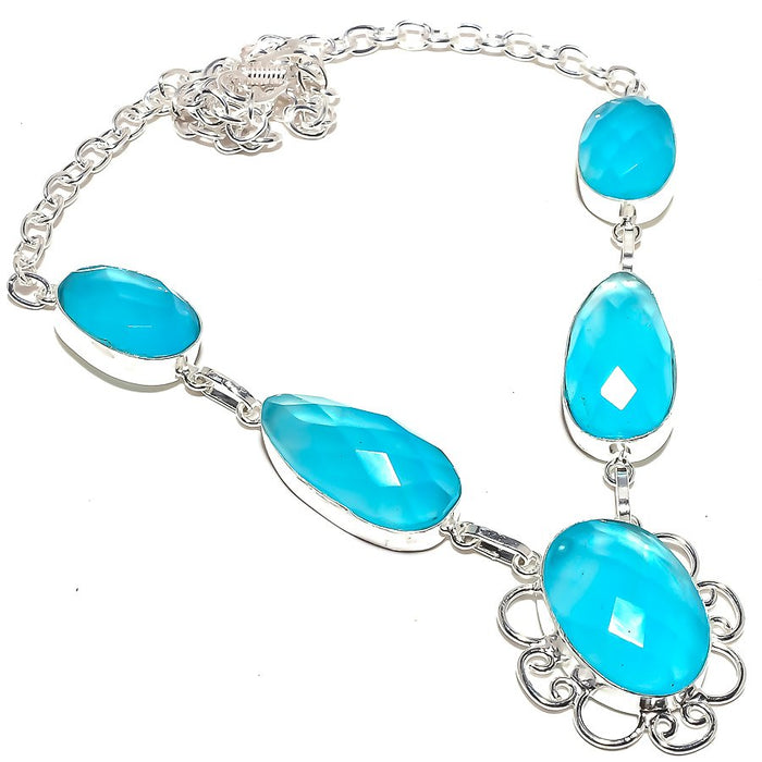 Blue Chalcedony Gemstone Handmade Jewelry Necklace 18 Inches RN185