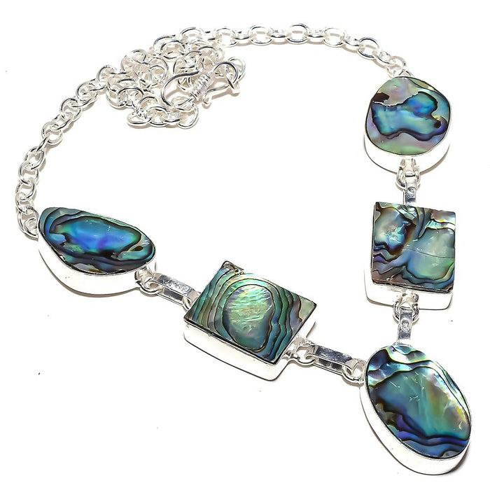 Abalone Shell Gemstone Handmade Jewelry Necklace 18 Inches RN186