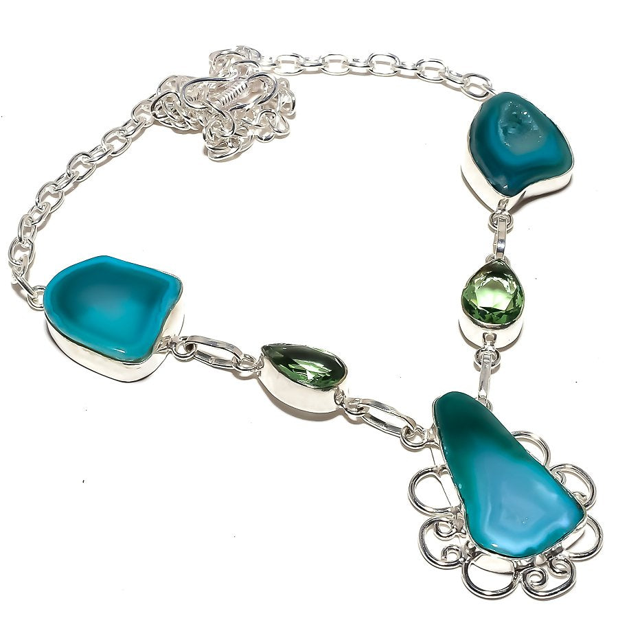 Slice Agate Druzy, Green Amethyst Jewelry Necklace 18 Inches RN192
