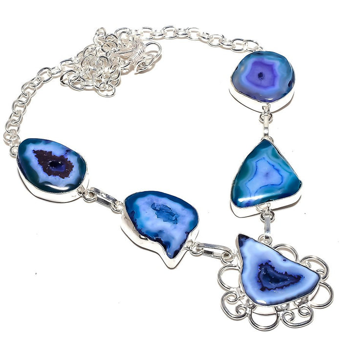 Blue Slice Agate Druzy Gemstone Jewelry Necklace 18 Inches RN193