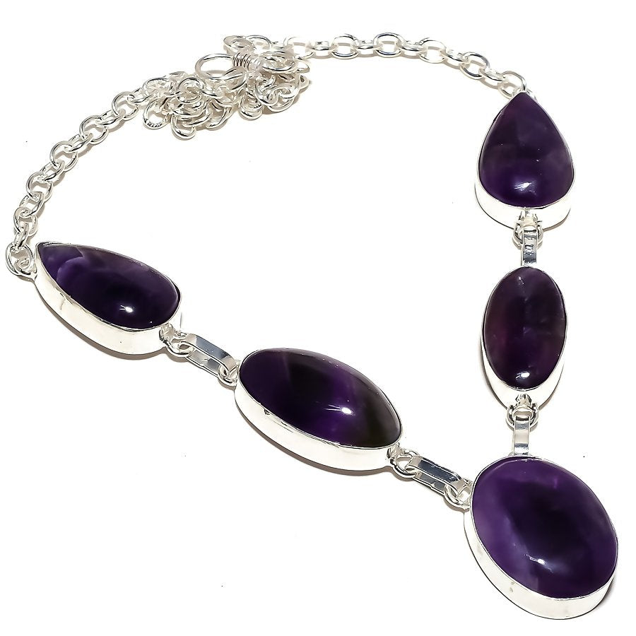 African Amethyst Gemstone Ethnic Jewelry Necklace 18 Inches RN210