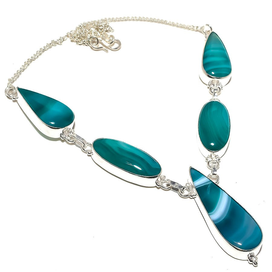 Aqua Lace Agate Gemstone Handmade Jewelry Necklace 18 Inches RN212