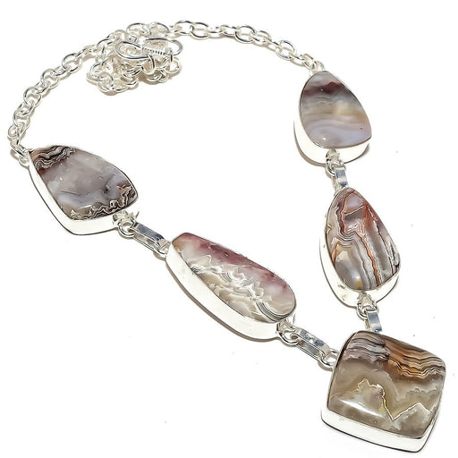 Crazy Lace Agate Gemstone Ethnic Jewelry Necklace 18 Inches RN246