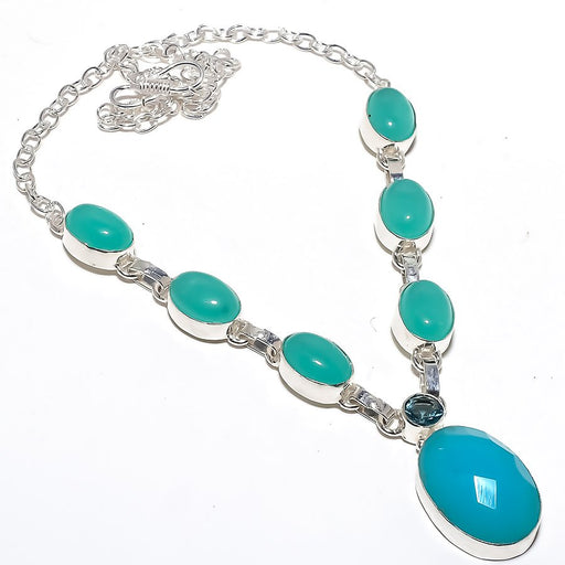 Blue Chalcedony, Apatite Gemstone Jewelry Necklace 18 Inches RN252