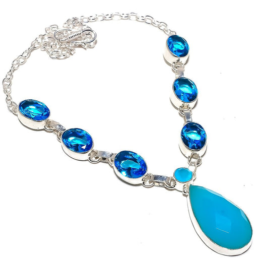 Blue Chalcedony, Blue Topaz Jewelry Necklace 18 Inches RN269