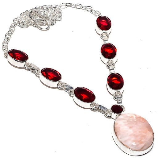 Scolecite, Garnet Gemstone Ethnic Jewelry Necklace 18 Inches RN273