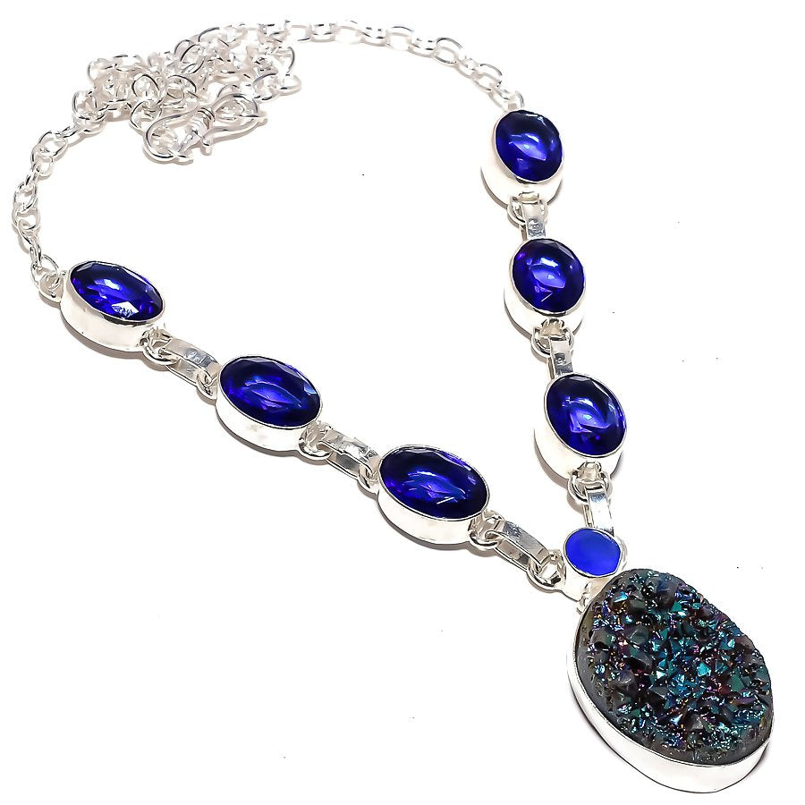 Titanium Druzy, Blue Sapphire Jewelry Necklace 18 Inches RN277
