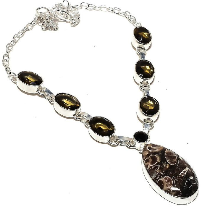 Turritella Fossil, Smokey Topaz Jewelry Necklace 18 Inches RN281