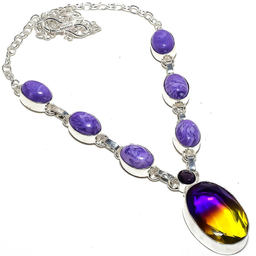 Bi-Color Tourmaline, Charoite Jewelry Necklace 18 Inches RN283