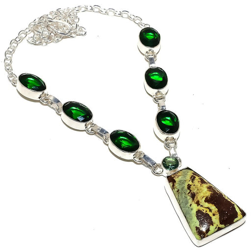 Boulder Lemon Chrysoprase Jewelry Necklace 18 Inches RN286