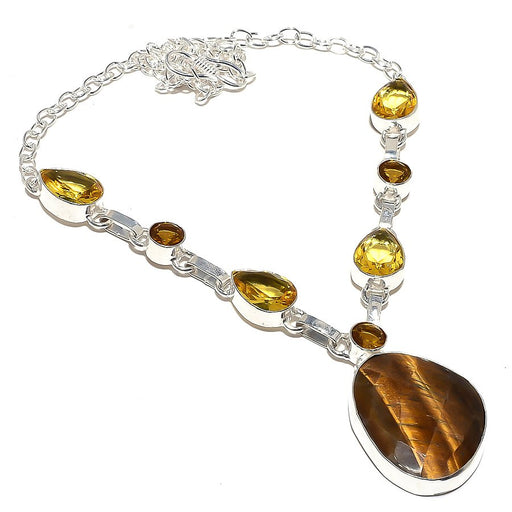 Faceted Tiger'S Eye, Citrine Jewelry Necklace 18 Inches RN28