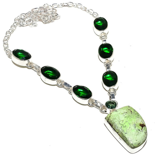 Lemon Chrysoprase Jewelry Necklace 18 Inches RN294