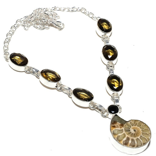 Ammonite Fossil, Smokey Topaz Jewelry Necklace 18 Inches RN295