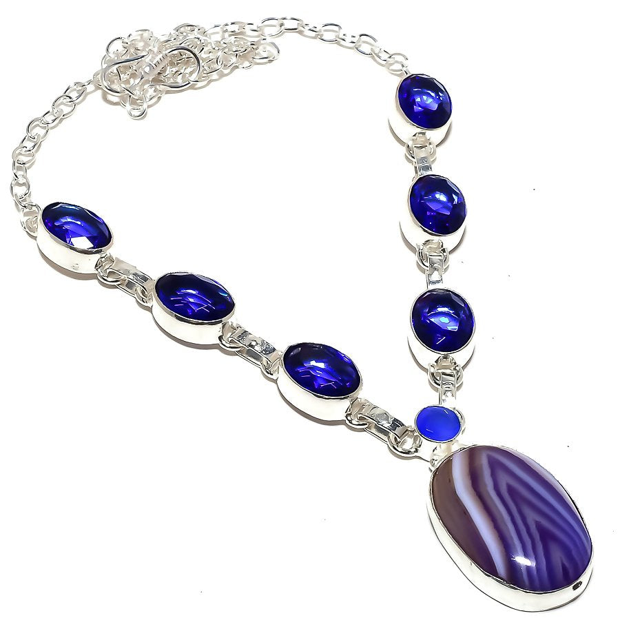 Purple Lace Agate Jewelry Necklace 18 Inches RN296