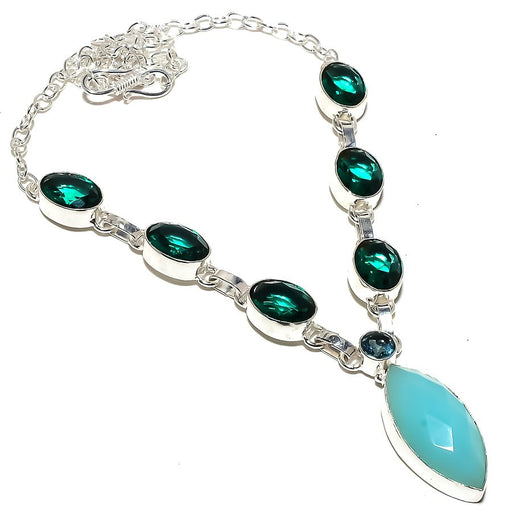 Aqua Chalcedony, Green Tourmaline Jewelry Necklace 18 Inches RN302