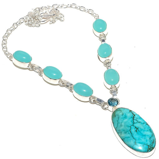 Santa Rosa Turquoise, Chalcedony Jewelry Necklace 18 Inches RN306