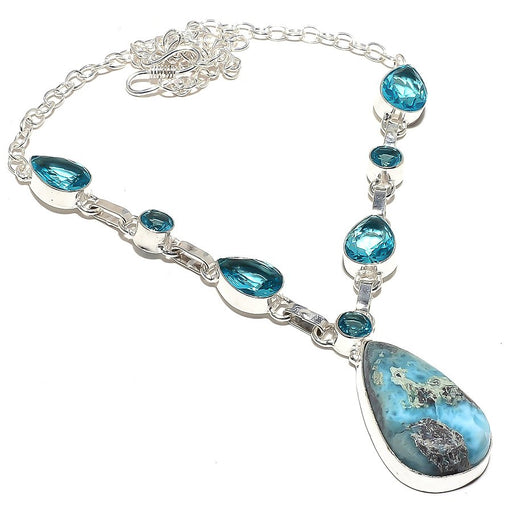 Caribbean Larimar, Blue Topaz Jewelry Necklace 18 Inches RN30