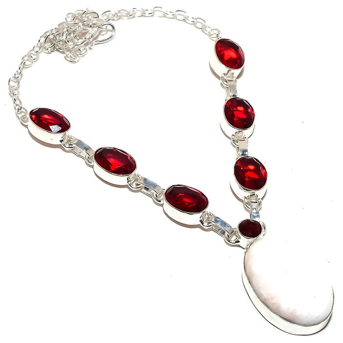Scolecite, Garnet Gemstone Ethnic Jewelry Necklace 18 Inches RN310