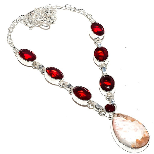 Scolecite, Garnet Gemstone Ethnic Jewelry Necklace 18 Inches RN312