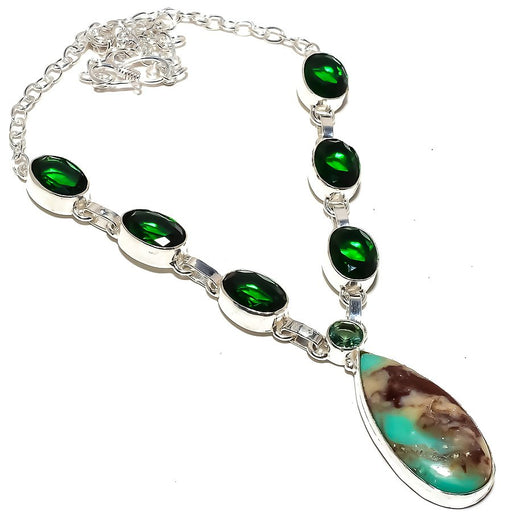 Boulder Chrysoprase Jewelry Necklace 18 Inches RN321