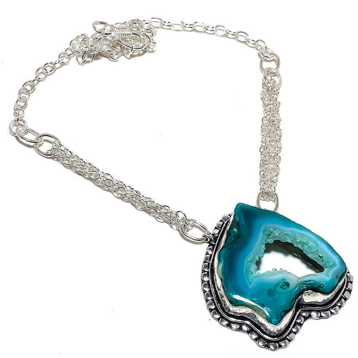 Window Agate Druzy Gemstone Jewelry Necklace 18 Inches RN342