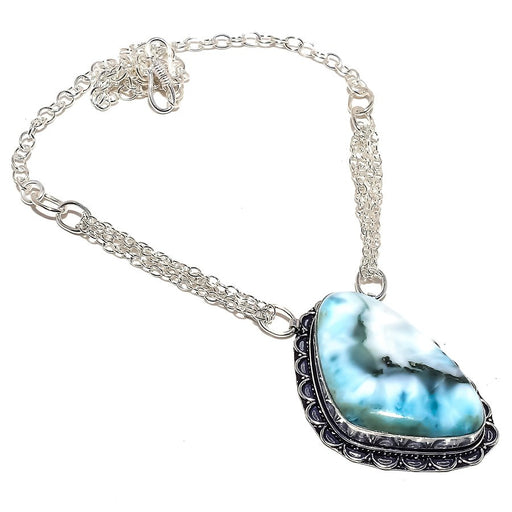 Caribbean Larimar Gemstone Ethnic Jewelry Necklace 18 Inches RN343