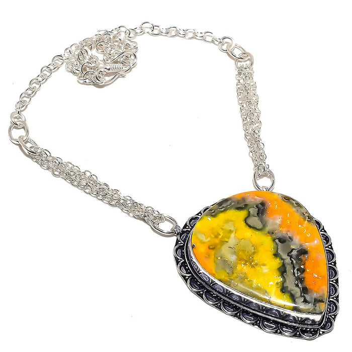 Bumble Bee Jasper Gemstone Ethnic Jewelry Necklace 18 Inches RN347
