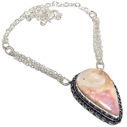Pink Calcite Gemstone Handmade Jewelry Necklace 18 Inches RN353