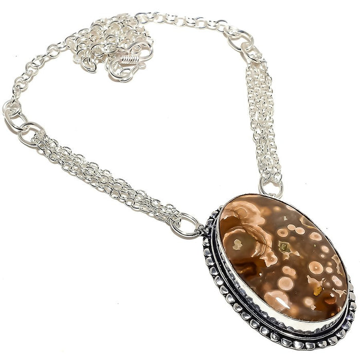 Ocean Jasper Gemstone Handmade Jewelry Necklace 18 Inches RN359