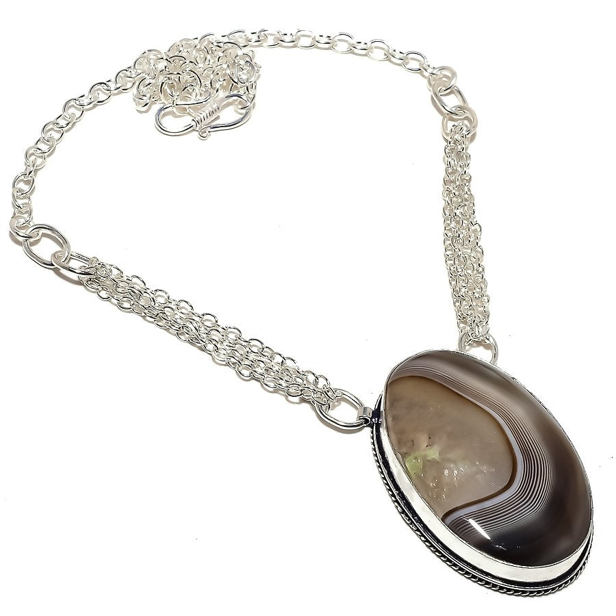Botswana Lace Agate Gemstone Jewelry Necklace 18 Inches RN361